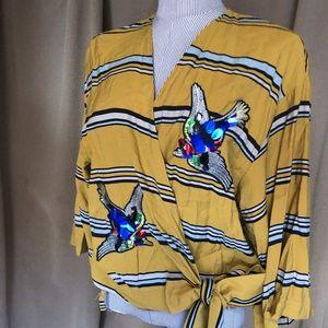 ZARA ochre striped embellished birds kimono top L